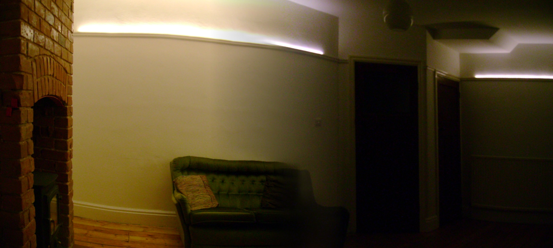 ... room has no direct window, so the lights provide bright diffuse light